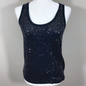 J. Crew navy blue sequin tank top XS